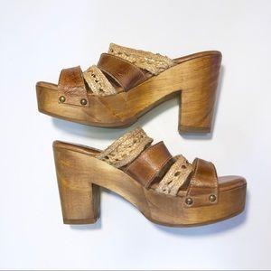 Bed Stu Crystal Platform Slide Sandal tan & bone